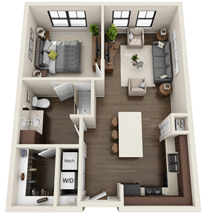 A1 - One Bedroom / One Bath - 696 Sq. Ft.*