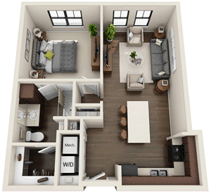 A2 - One Bedroom / One Bath - 737 Sq. Ft.*