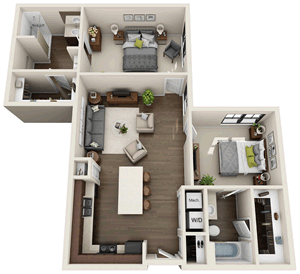 B2 - Two Bedroom / Two Bath - 1,048 Sq. Ft.*
