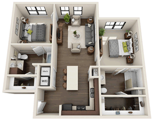 B3 - Two Bedroom / Two Bath - 1,006 Sq. Ft.*
