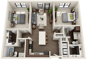 B5 - Two Bedroom / Two Bath - 1,046 Sq. Ft.*